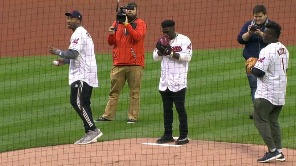 Browns picks throw first pitch