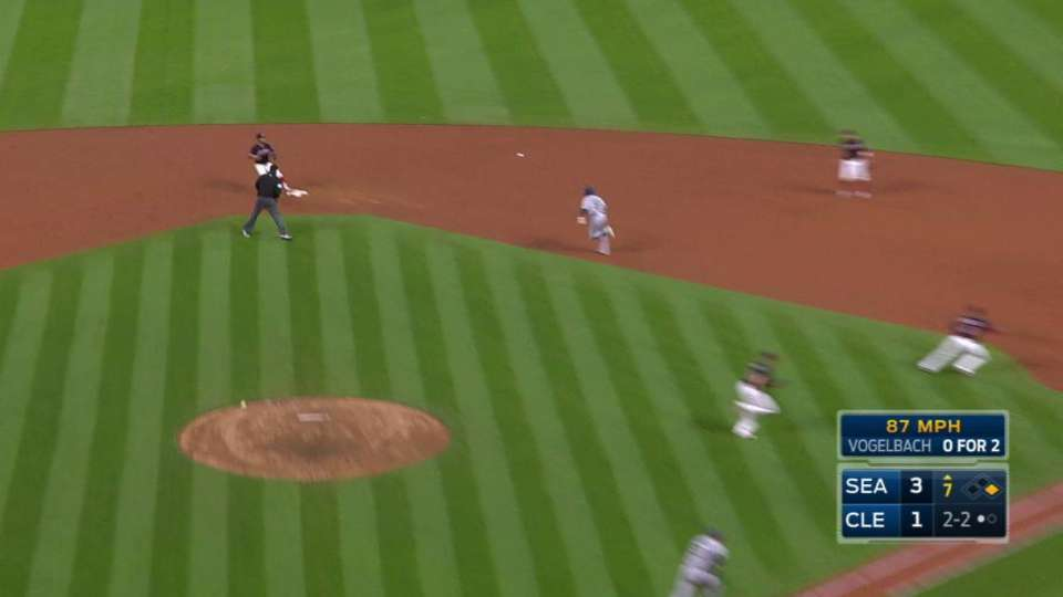 Lindor turns two to end inning