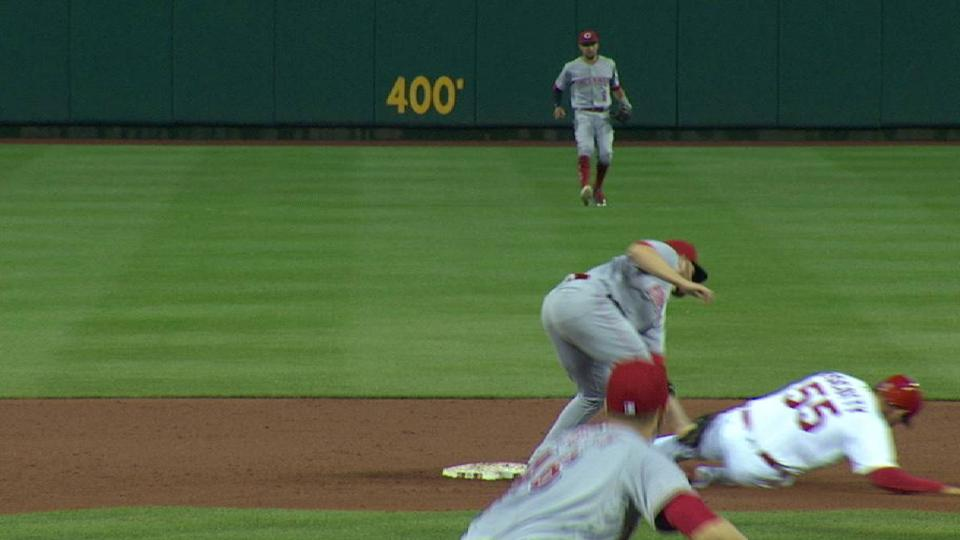 Mesoraco throws out Piscotty