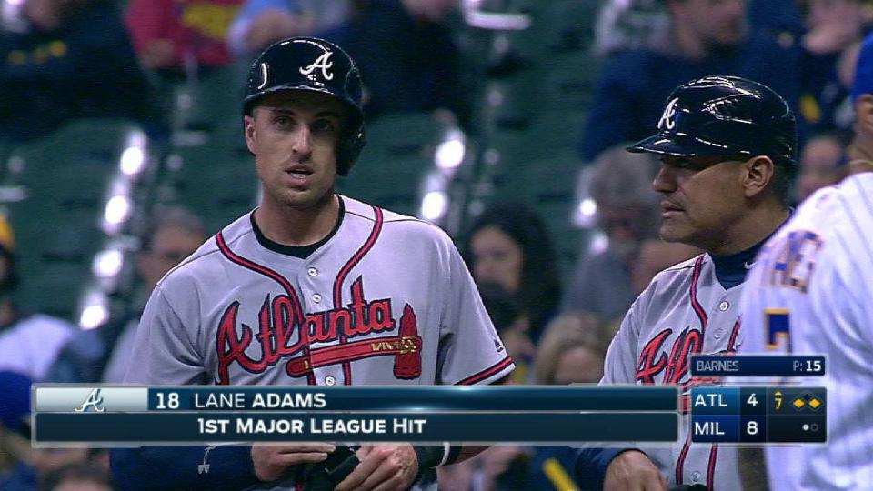 Adams notches first career hit