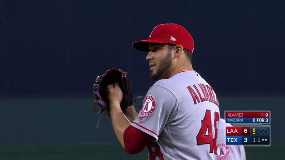 Alvarez records first MLB save
