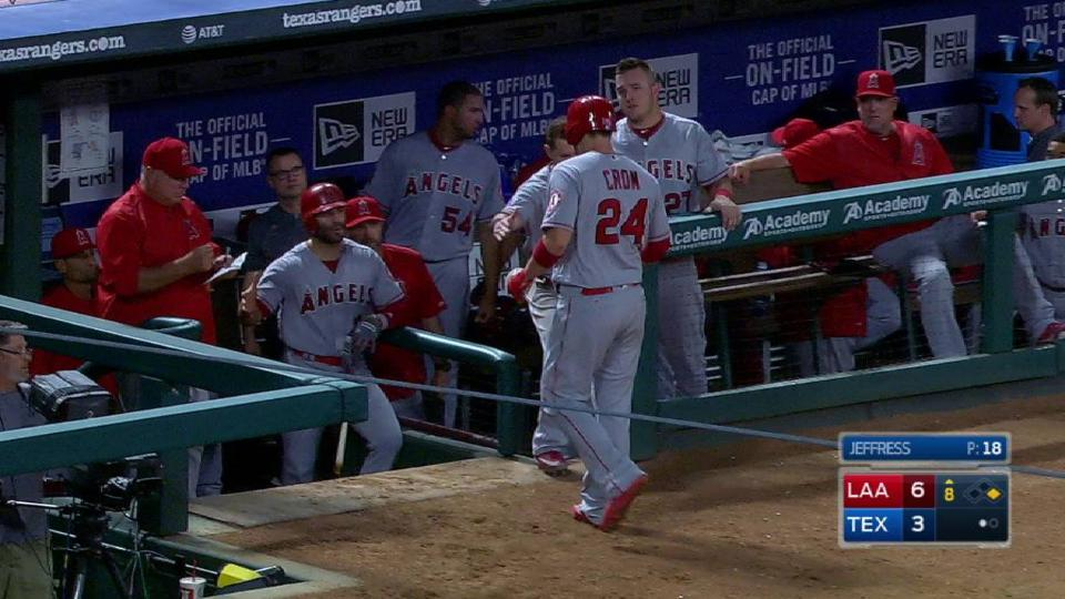Cron leaves game after base hit