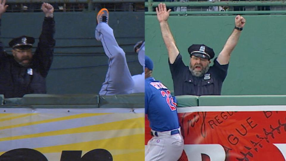 Cop celebrates Red Sox homers
