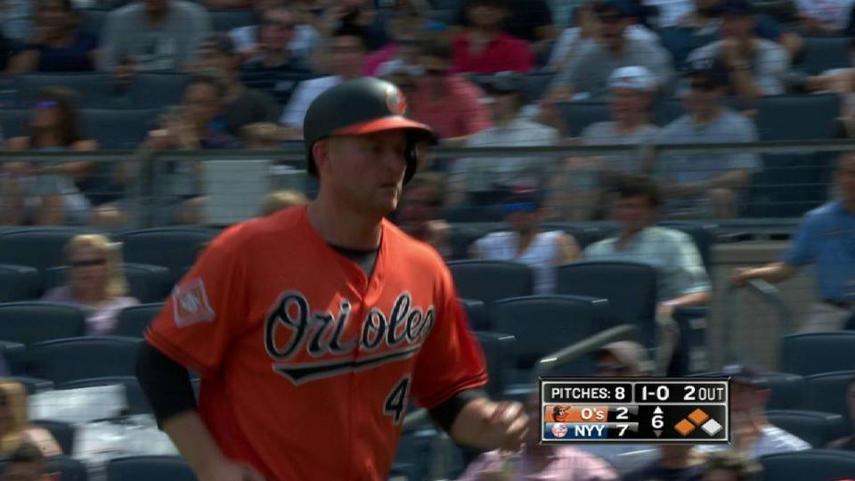 Trumbo scores on a wild pitch