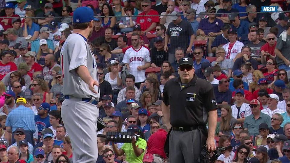 Lackey argues with umpire