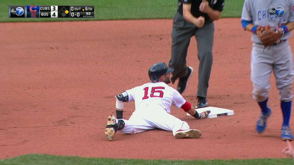 Jay throws out Pedroia at second