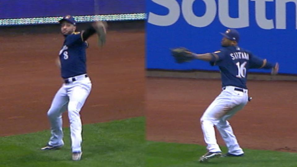 Brewers' outfield assists