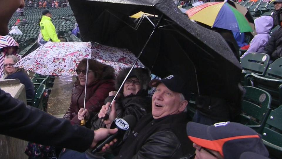 Fan gets his umbrella ripped