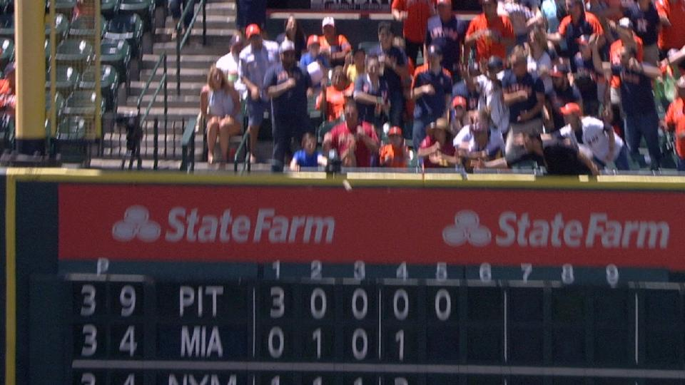 Gattis' RBI double off of wall