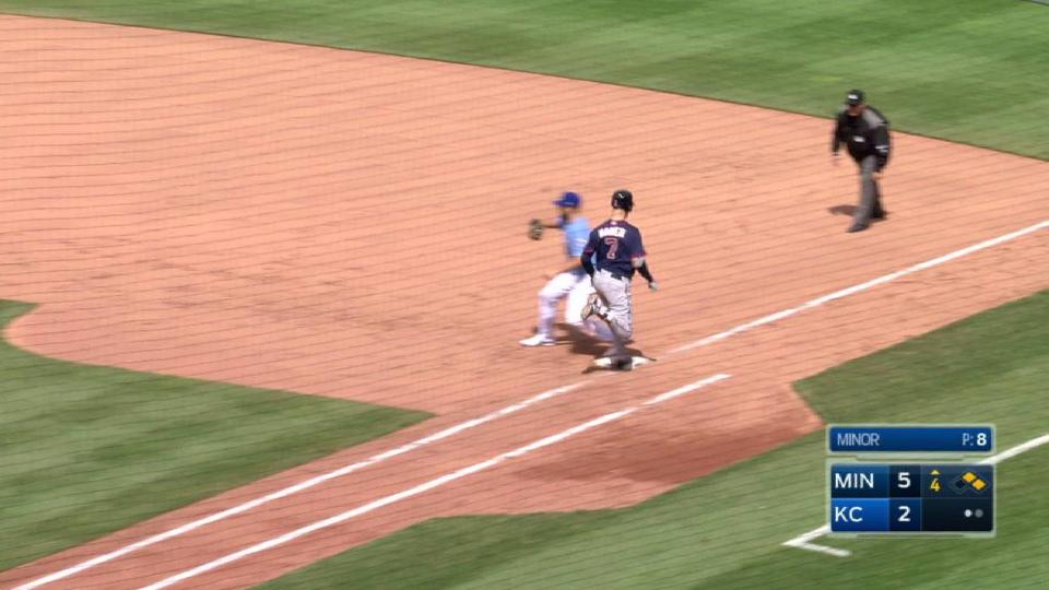 Minor induces 4-6-3 double play