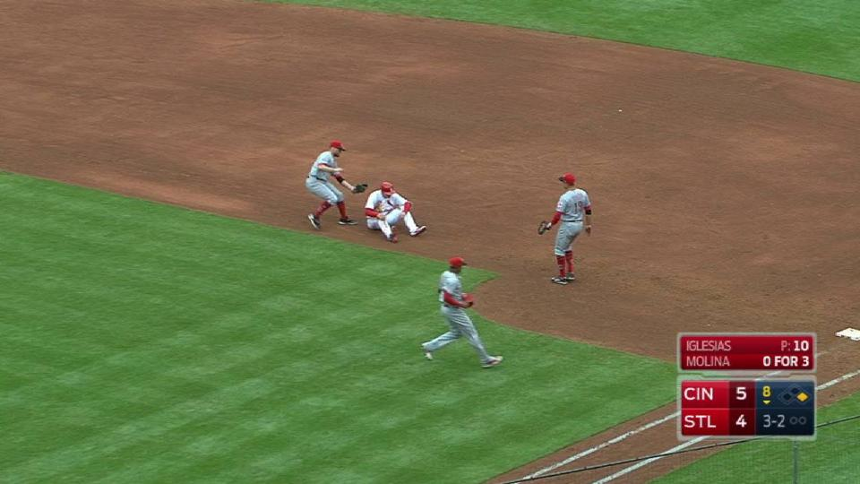 Reds' unusual double play