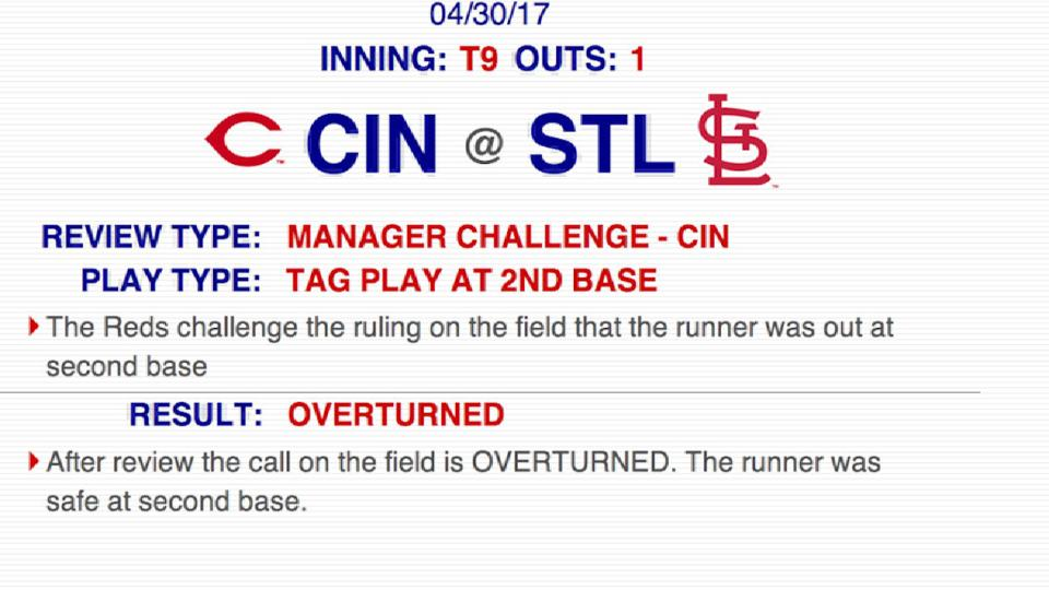 Out call overturned at second