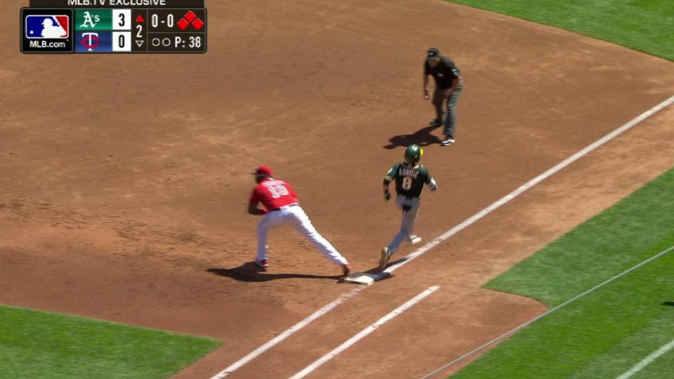 Decker scores on a double play