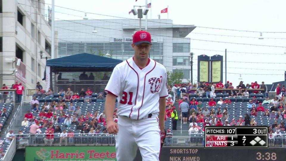Scherzer whiffs Ahmed in 7th
