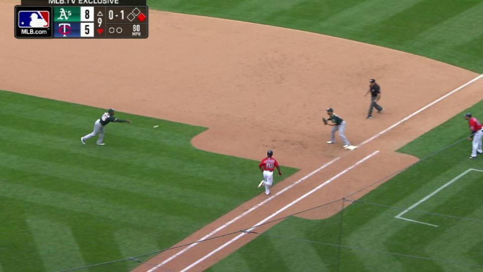 Casilla robs Santana of base hit