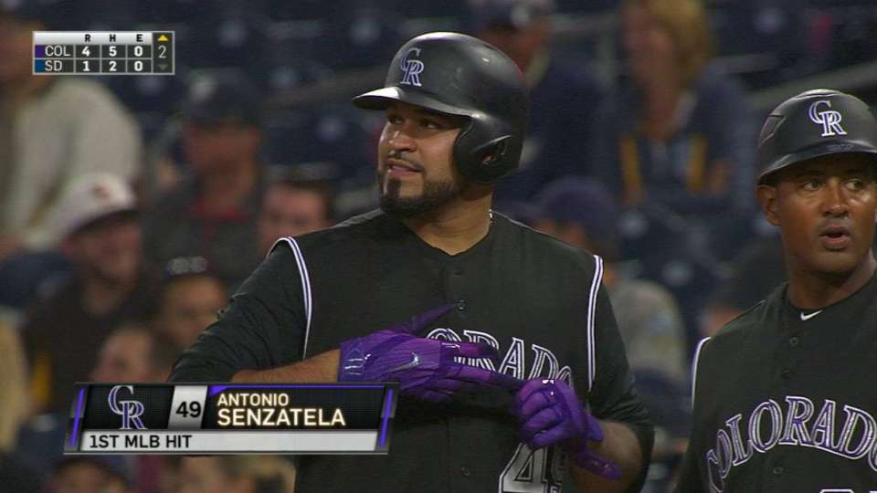 Senzatela's first career hit