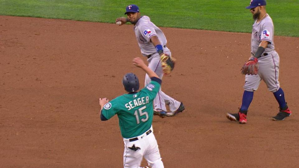Andrus works the double play