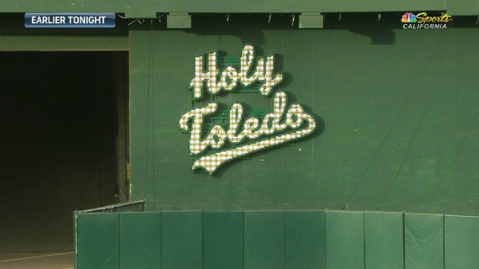 A's unveil 'Holy Toledo' sign