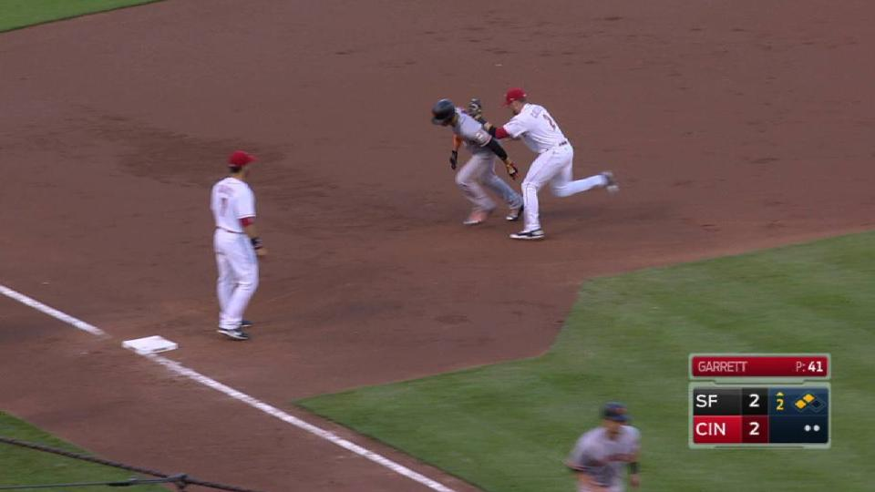 Reds turn double play on fly out