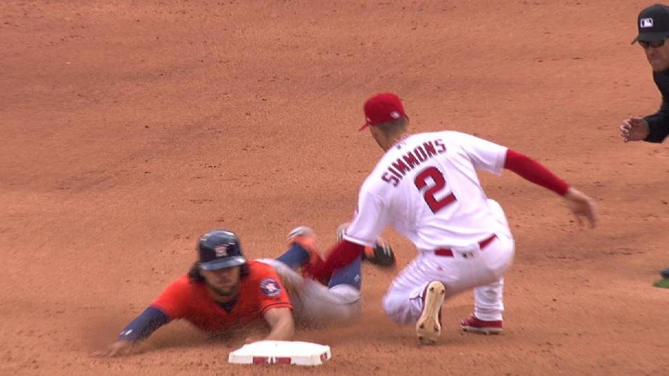 Marisnick steals second base