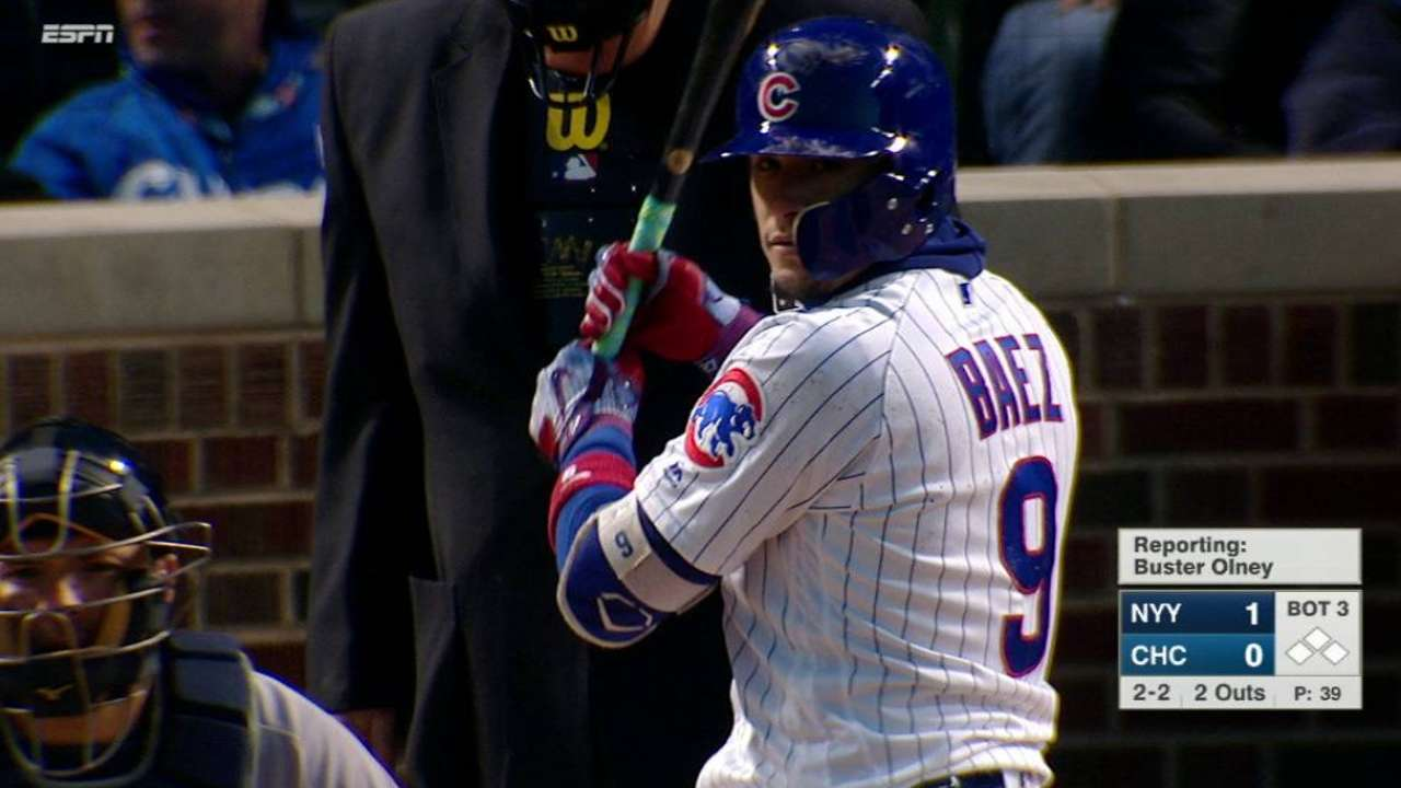 b7c7cfb57 Aaron Hicks lost Javier Baez's home run in the night sky | MLB.com