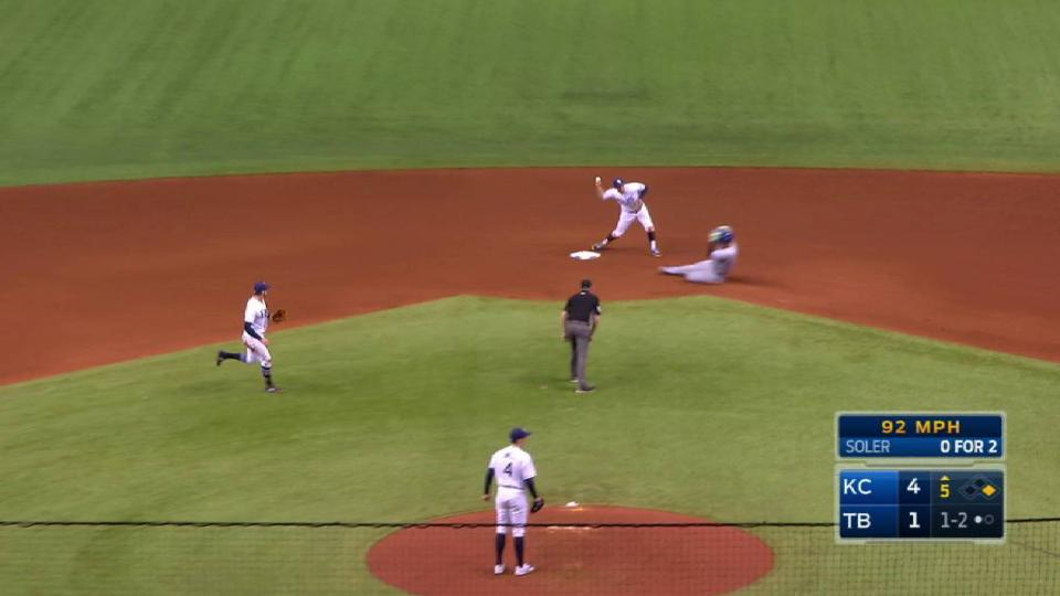 Longoria induces a double play