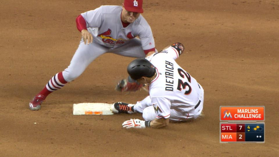 Marlins challenge tag at second