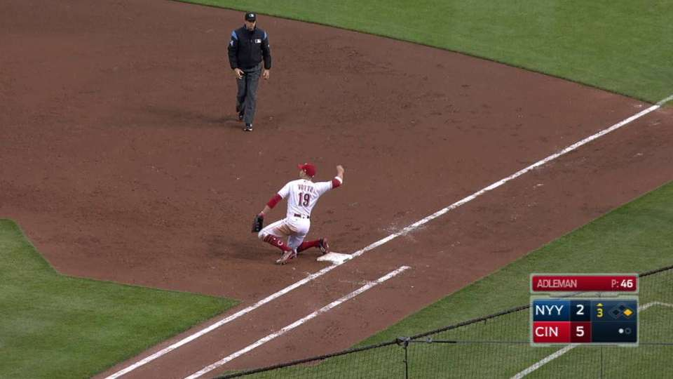 Reds turn a 6-4-3 double play