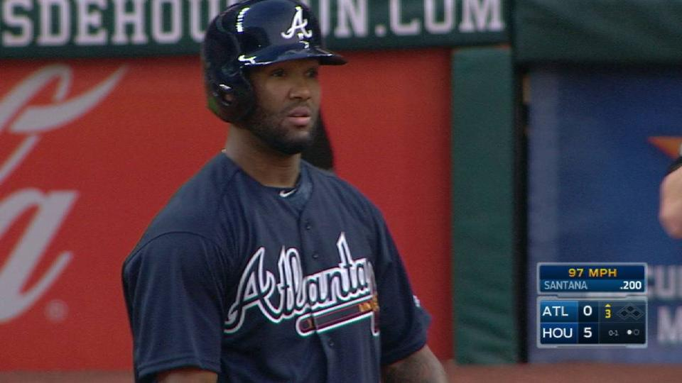 Santana's first AB with Braves