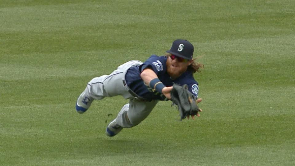 Gamel's diving catch in right