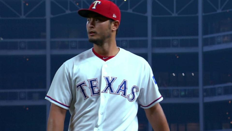 Darvish strands runner at third