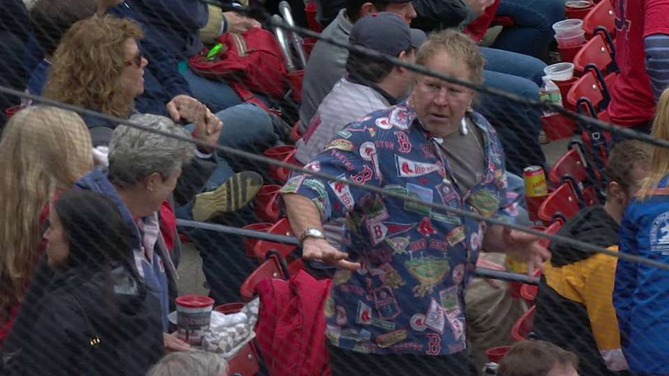 Red Sox fan dances at Fenway