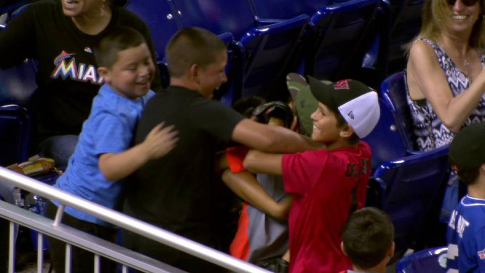 Young fan's spectacular catch