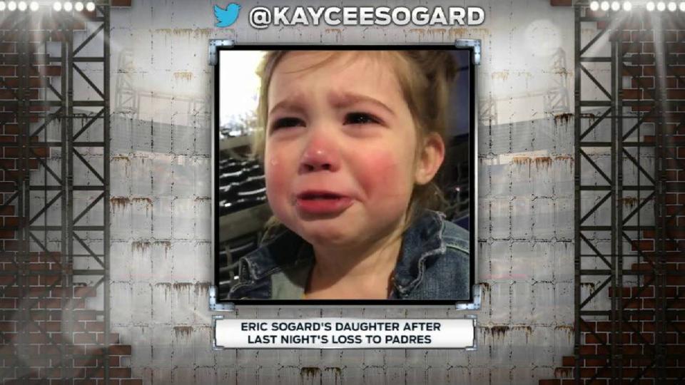 Sogard's daughter cries at game