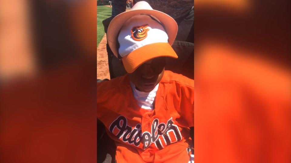 Young O's fan on first pitch