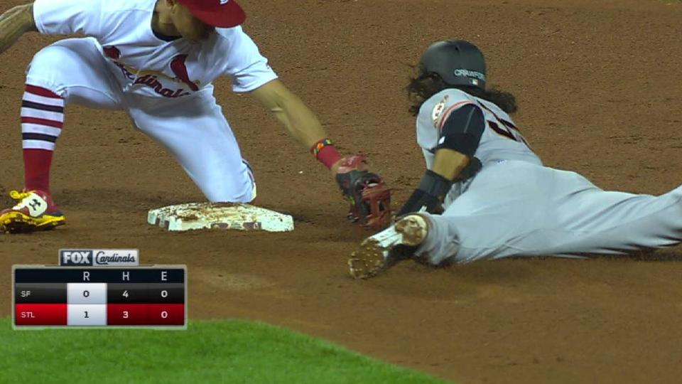 Molina's throw gets Crawford