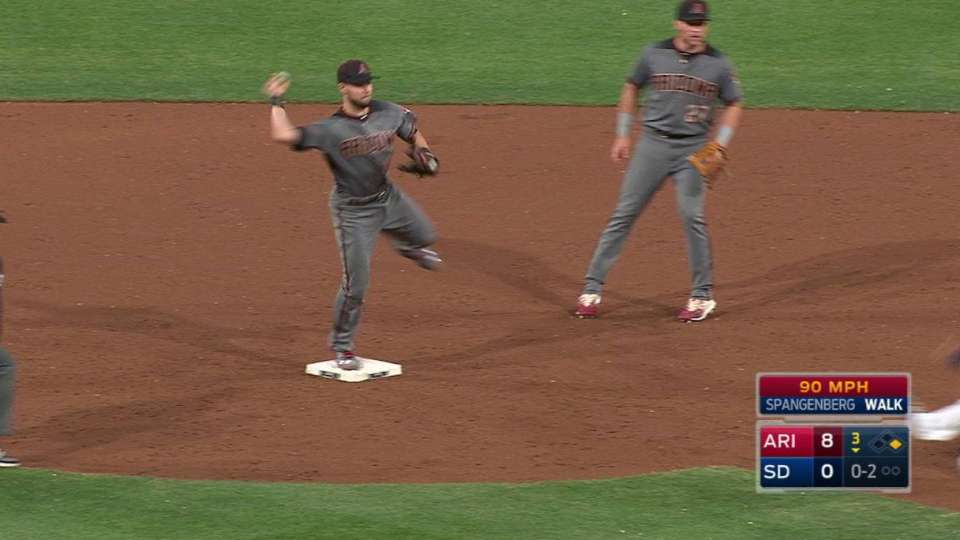 Owings turns a double play