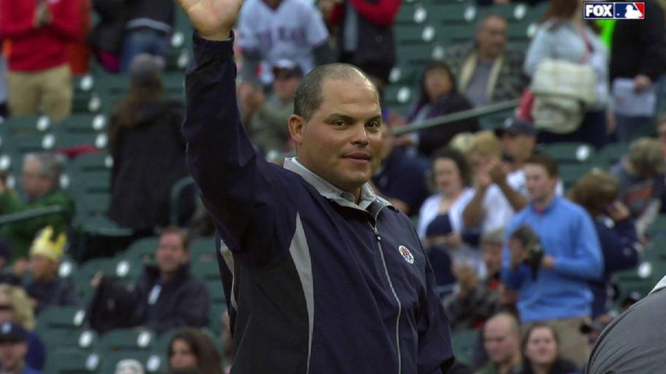 Pudge throws out first pitch