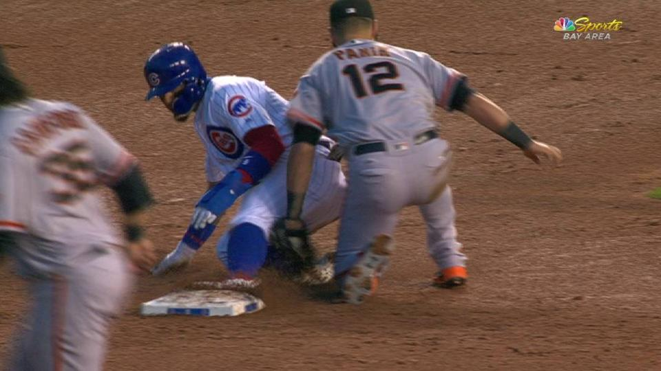 Posey throws out Baez