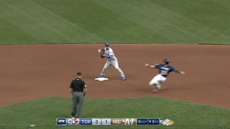 Goins starts a slick double play
