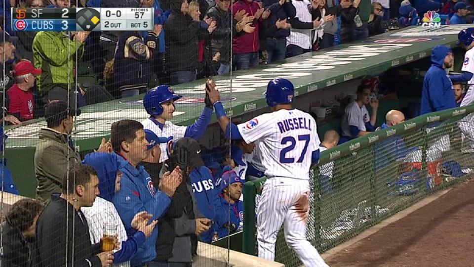 Baez's sac fly scores Russell