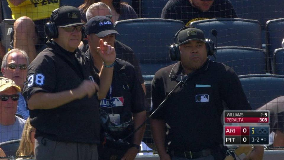 Peralta hit by pitch