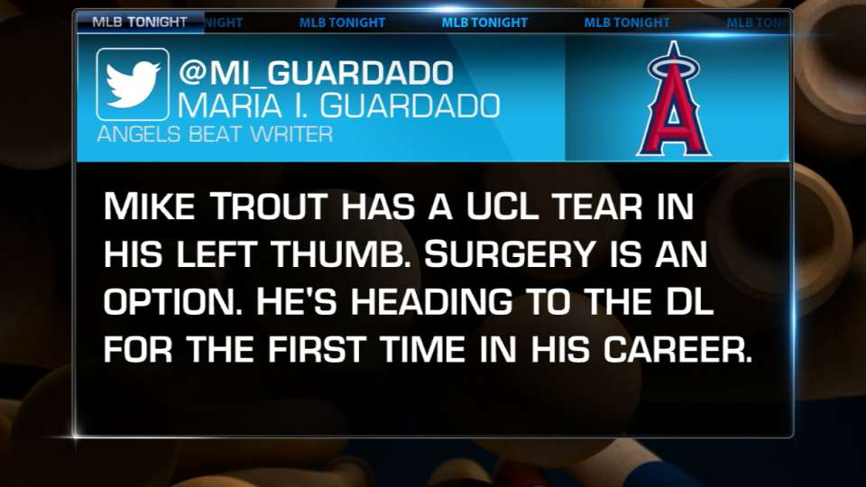 Trout tears UCL in left thumb
