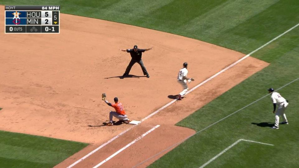 Buxton legs out infield single