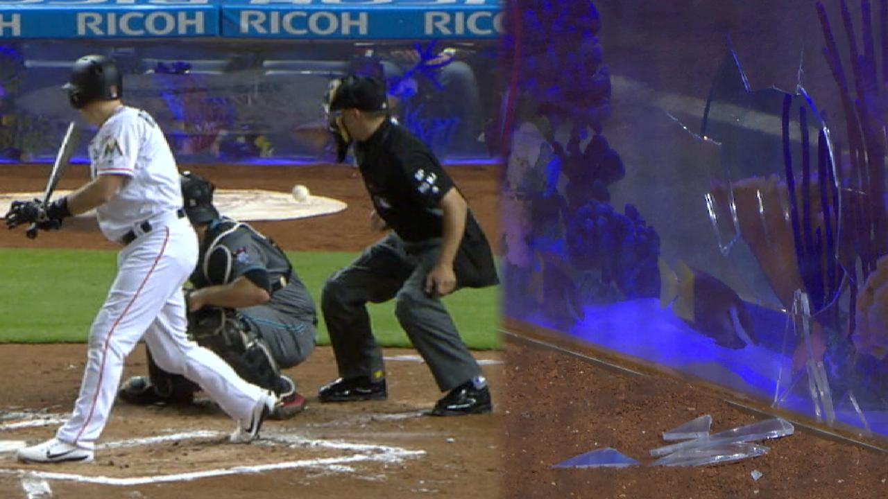e2b7ad6639a J.T. Realmuto broke the Marlins Park fish tank s protective glass behind  home plate