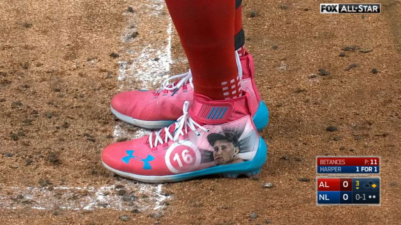 2ce18daad9fc Bryce Harper made a great tumbling catch in cleats he wore as a tribute to  Jose Fernandez
