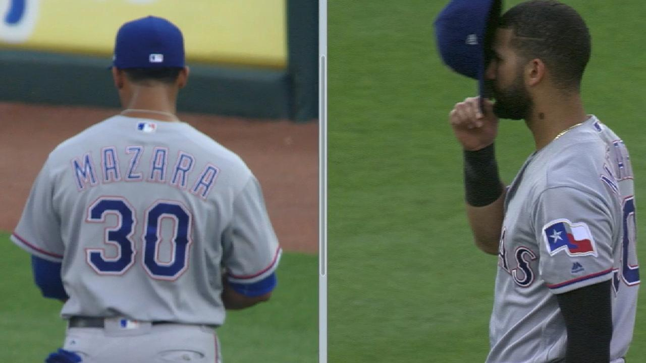 51d1fb9933d Carlos Gomez accidentally wore Nomar Mazara s Rangers jersey before their  game on Tuesday