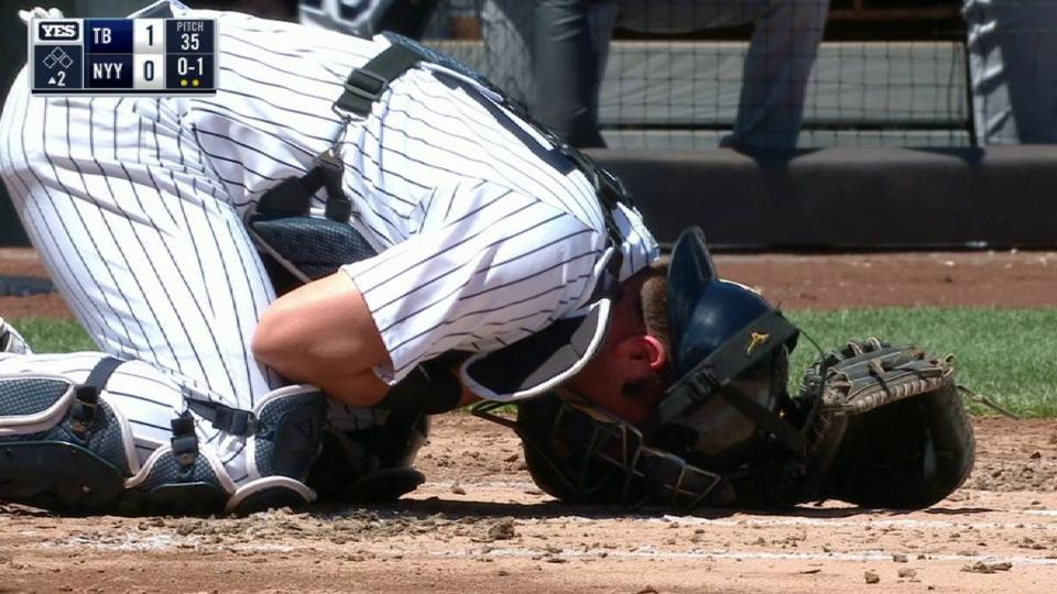 Romine gets hit in the throat