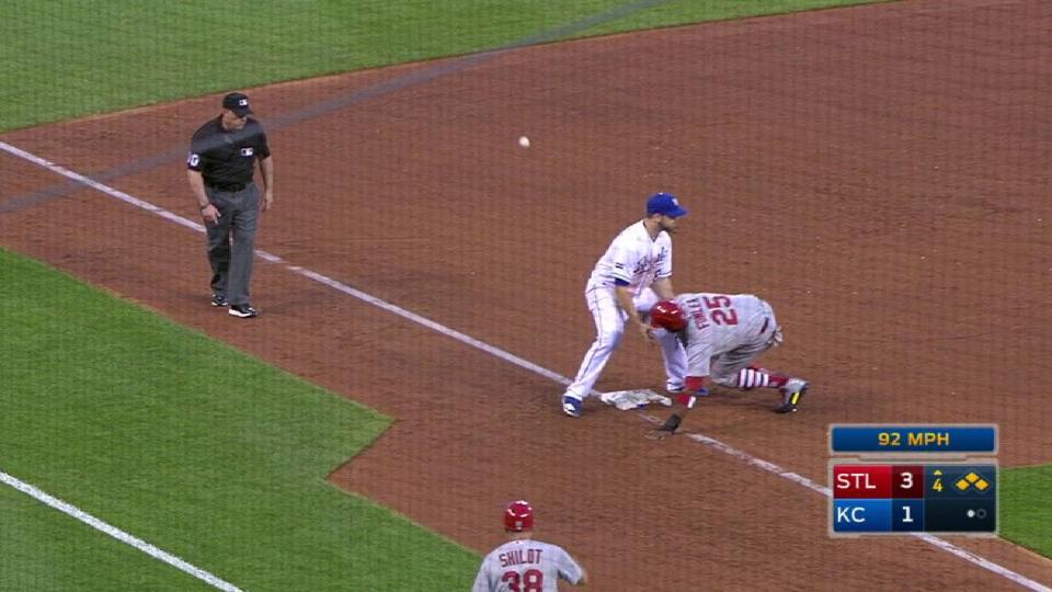 Fowler scores on pickoff attempt