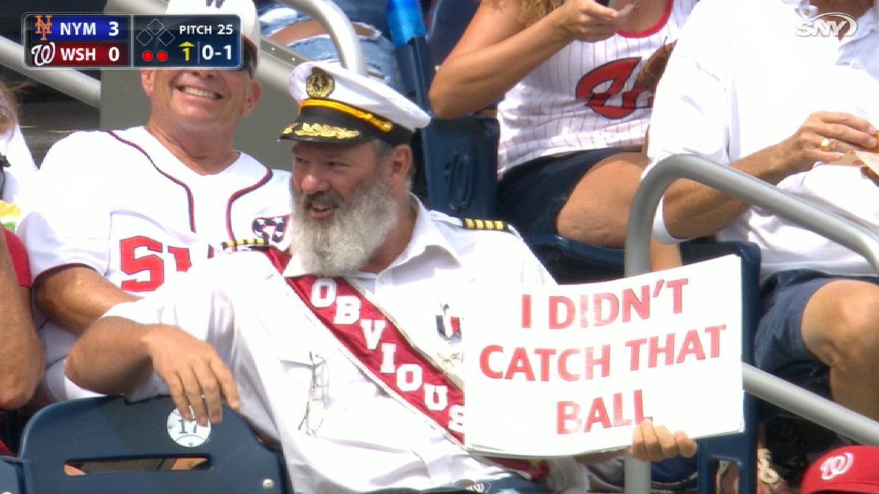 captain obvious couldn t make a catch on a foul ball and made a